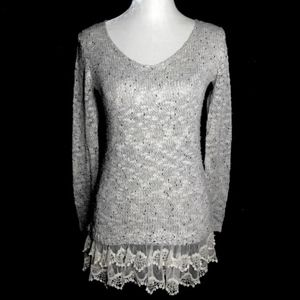 Altar'D State lace metallic long sleeve sweater